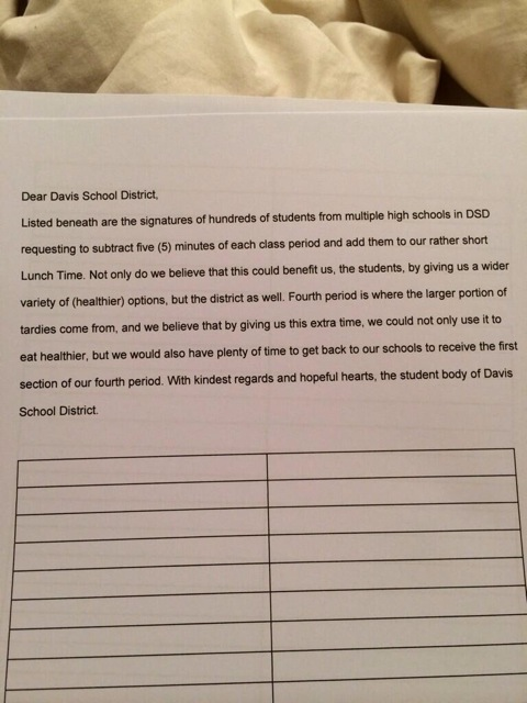 Lunch petition crafted to promote a longer lunch period
