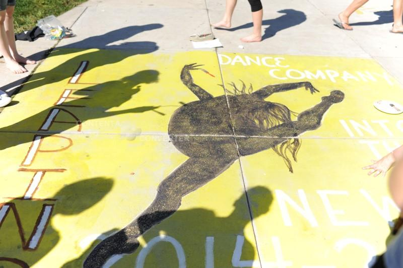 Dance Company's street art displays vibrant colors during homecoming week.
