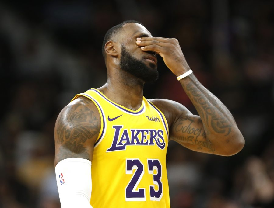 SAN ANTONIO,TX - OCTOBER 27:  LeBron James #23 of the Los Angeles Lakers reacts after a turnover against the San Antonio Spurs at AT&T Center on October 27 , 2018  in San Antonio, Texas.  NOTE TO USER: User expressly acknowledges and agrees that , by downloading and or using this photograph, User is consenting to the terms and conditions of the Getty Images License Agreement. (Photo by Ronald Cortes/Getty Images)