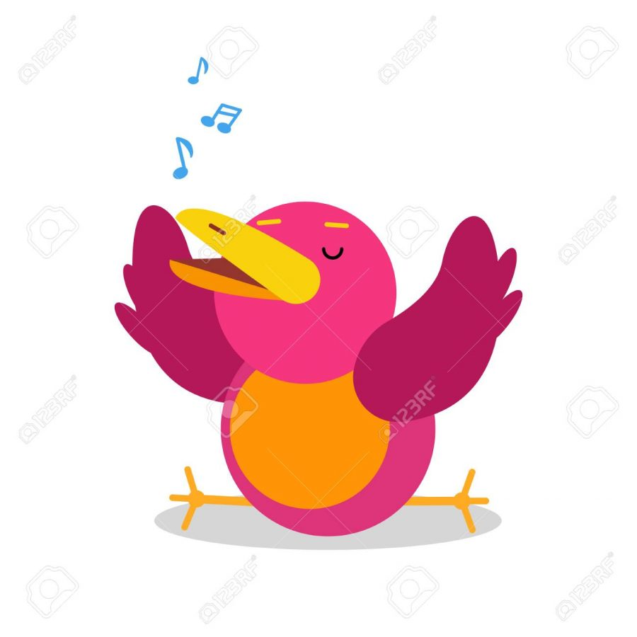 Funny+cartoon+bird+character+singing+vector+Illustration+isolated+on+a+white+background