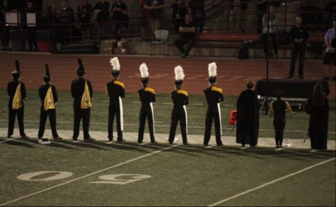 Davis High School drum majors lined up at state award ceremony (2019)