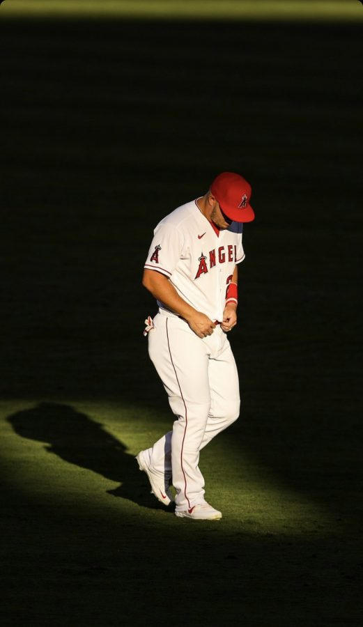 Mike+Trout+preparing+for+the+game+against+the+Oakland+Athletics+on+August+12%2C2020.