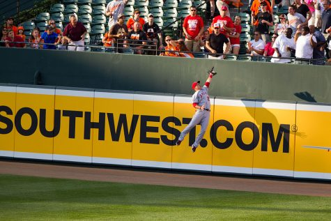 Mike Trout robs J.J. Hardy of the Baltimore Orioles of a homerun on June 27, 2012.