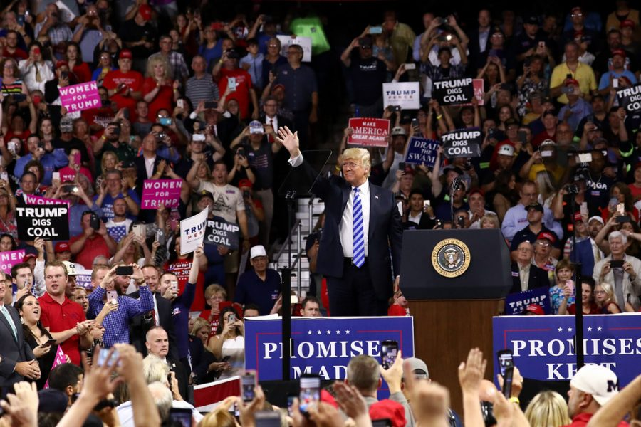 Former President Donald Trump at a rally in Charleston, West Virginia